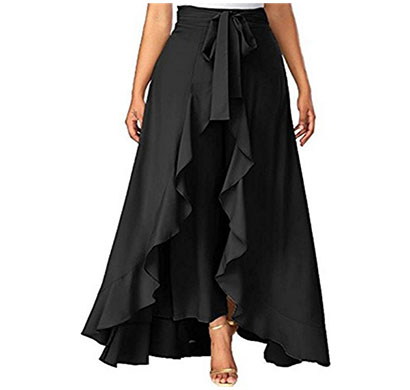 showylook women western bottom wear ruffle crepe palazzo (black)