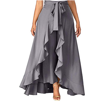 showylook women western bottom wear ruffle crepe palazzo (grey)