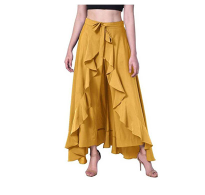 showylook women western bottom wear ruffle crepe palazzo (musterd)