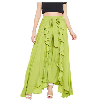 showylook women western bottom wear ruffle crepe palazzo (green)