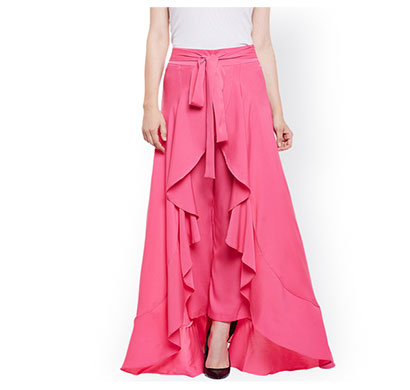 showylook women western bottom wear ruffle crepe palazzo (pink)