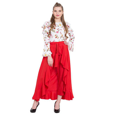 showylook women western bottom wear ruffle crepe palazzo (red)