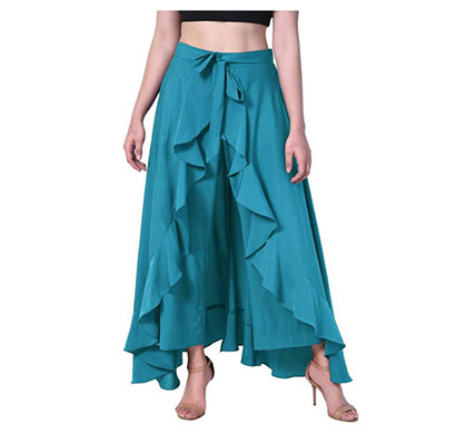 showylook women western bottom wear ruffle crepe palazzo (blue)