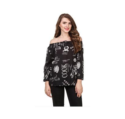 showylook women western wear crepe top(swo-025-black)