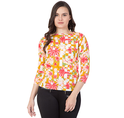 showylook (swo-197-2yellow) women western crepe top (yellow)