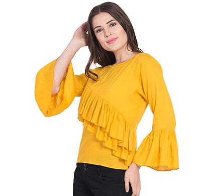 showylook women western wear crepe top(swo-top-701-yellow-chestfreel-l),yellow