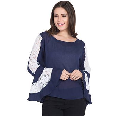showylook women western wear crepe top(swo-top-702-blue-baju-net),blue