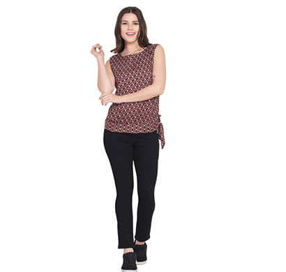showylook women western wear crepe top(swo-top-703-brown-bottonbelt),brown