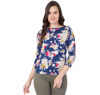 showylook (swo-212-blue) women western crepe top (blue)