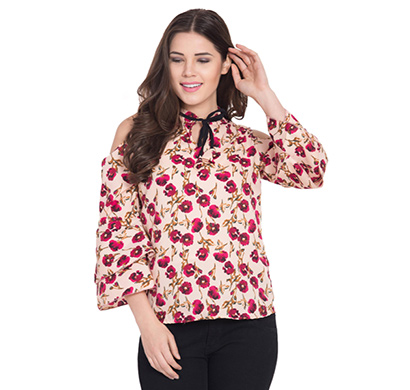 showylook women western wear crepe top(swo-top-704-rosetie),multicolor