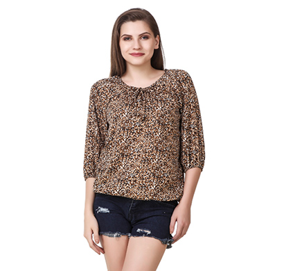 showylook women western wear crepe top (swo-38-brown)