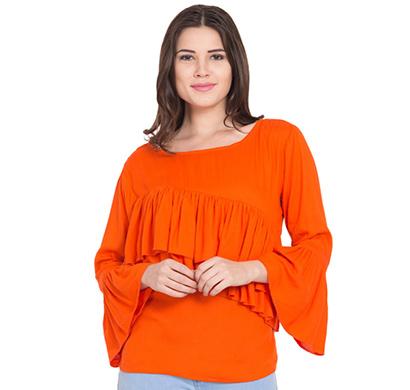 showylook women western wear crepe top(swo-top-708-orange-chestfreel),orange