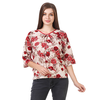 showylook women western wear crepe top (swo-81-red)
