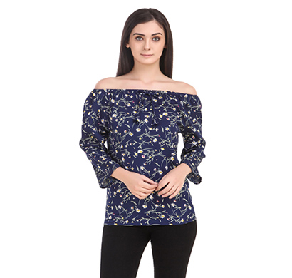 showylook women western wear crepe top (swo-138-blue)