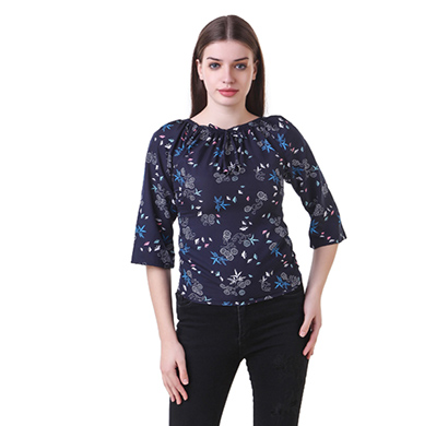 showylook women western wear crepe top (swo-145-blue)