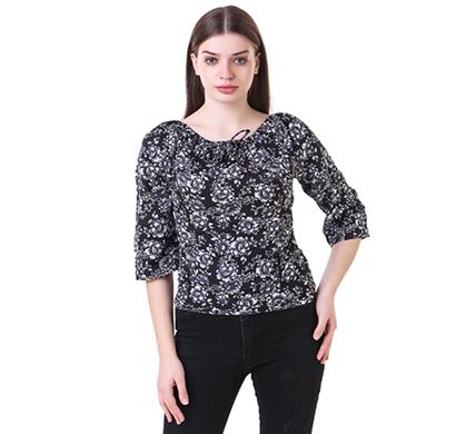 showylook women western wear crepe top (swo-146-black)