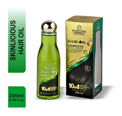 skinlicous hair oil (bhringraj, brahmi) complete hair fall & dandruff treatment, with ancient botanical ingredients- no colourants, parabens (200ml)
