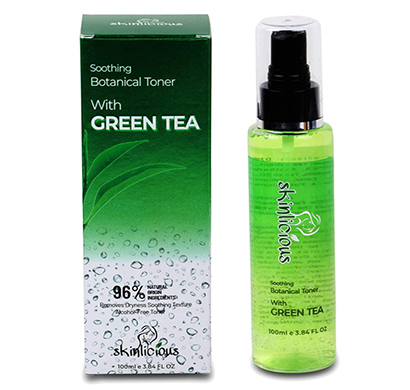 skinlicious green tea toner alcohol free (100ml)