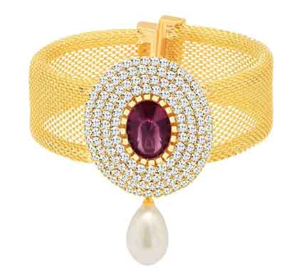 sukkhi exquisite gold plated wedding jewellery austrian diamond /ten changeable stone kada