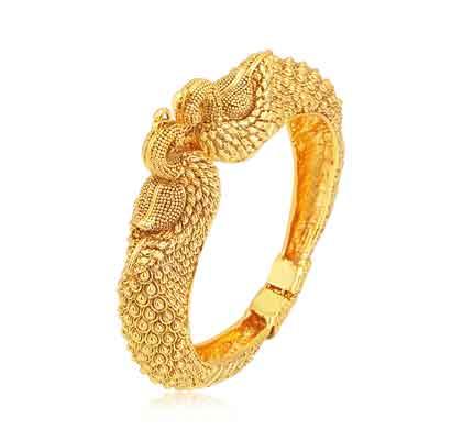 sukkhi peacock gold plated kada for women