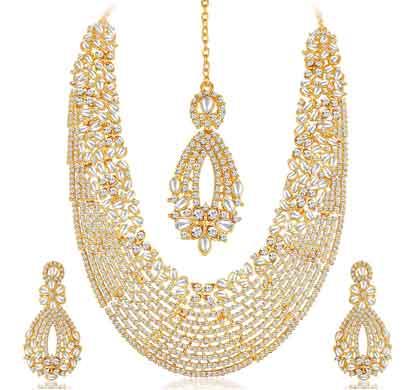 sukkhi dazzling austrian diamond and kundan long haram necklace gold plated wedding jewellery set for women