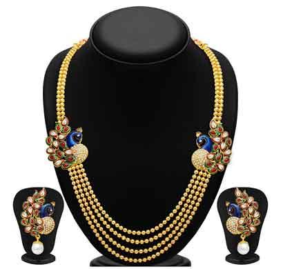 sukkhi pearl gold plated wedding jewellery kundan peacock meenakari multi-string necklace set for women