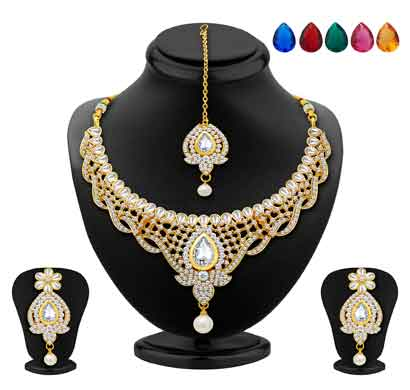 sukkhi divine gold plated ad necklace set with set of 5 changeable stone (2365nada1430)