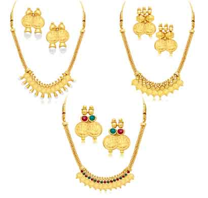 sukkhi traditional gold plated temple necklace set combo for women (290cb1650)