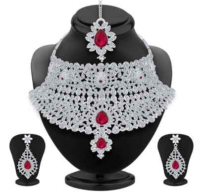 sukkhi classic rhodium plated ad necklace set for women (3143nads2050)