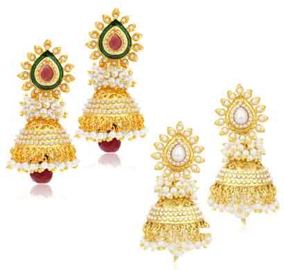 sukkhi gorgeous jhumki gold plated set of 2 pair earring combo for women (315cb1600)