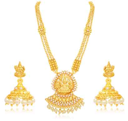 sukkhi marquise laxmi temple gold plated necklace set for women (3190ngldpp1400)