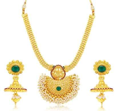 sukkhi shimmering gold plated necklace set for women (3193ngldpp950)