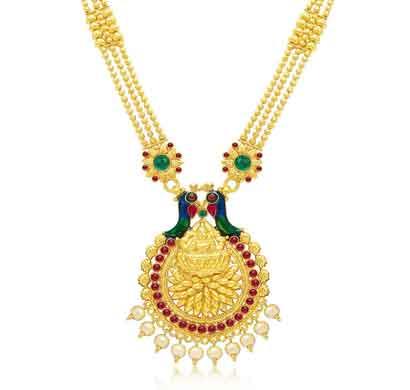 sukkhi designer laxmi temple peacock gold plated necklace set for women (3196ngldpp1400)
