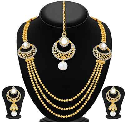 sukkhi graceful 3 string gold plated necklace set for women (3253ngldpkn750)