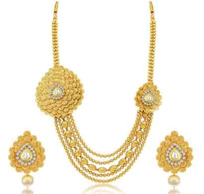sukkhi exquitely jalebi 5 string gold plated ad necklace set for women (3279ngldpp1900)