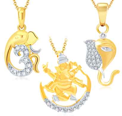 sukkhi fine ganesha gold plated set of 3 god pendant with chain combo (339cb900)