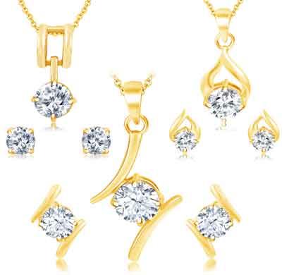 sukkhi lavish gold plated solitaire set of 3 pendant set combo for women (430cb1850)