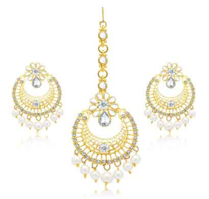 sukkhi angelic gold plated ad earring with mangtikka set for women (6862eadd900)