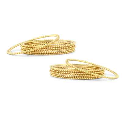 sukkhi glimmery gold plated bangles for women set of 12 (b71420gldpkr300-2.4)