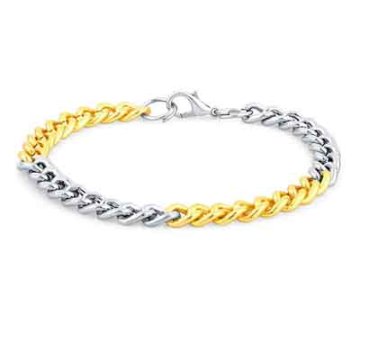 sukkhi incredible gold & rhodium plated bracelet for men (bc71505gldpap1000)