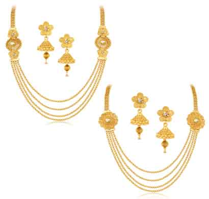sukkhi dazzling jalebi 4 string gold plated set of 2 necklace set combo for women (cb71465gldpkn1800)