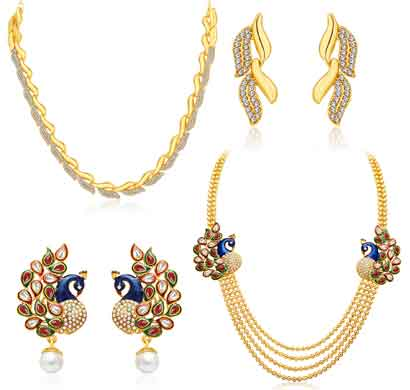 sukkhi sublime 4 string peacock gold plated ad combo for women pack of 2 (cb71484gldpm1450)