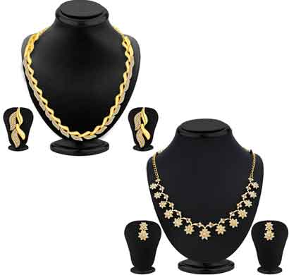 sukkhi modish ad gold plated necklace set combo for women (cb72311gldpm092017)