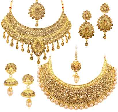 sukkhi sparkling gold plated lct necklace set combo for women (cb73380)