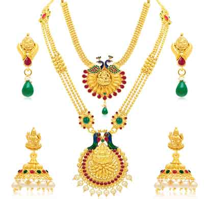 sukkhi peacock string gold plated necklace set combo for women (cb73385)