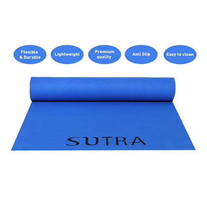 sutra yoga mat with strap, 8mm (blue)