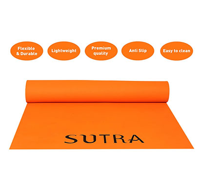 sutra yoga mat with strap, 6mm (orange)