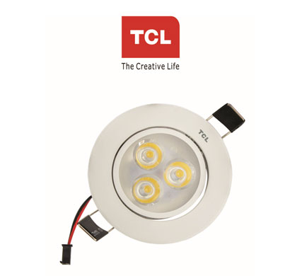 tcl led mini spot ceiling light silver 4w 3000k(warm white)180 rotative recessed