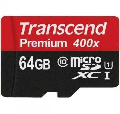 transcend 64 gb microsdxc class 10 45 mb/s memory card