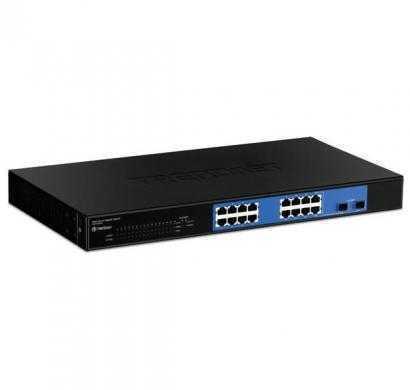 trendnet 16-port gigabit web smart switch w- 2 shared mini-gbic slots